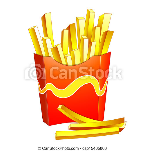french fries in a red box rh canstockphoto com clipart black and white french fries Frog Clip Art