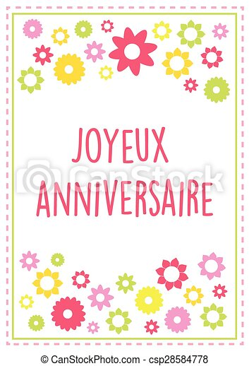 French happy birthday greeting card vector with summer colors and french happy birthday greeting card vector with summer colors and flowers text outlined version 10 m4hsunfo