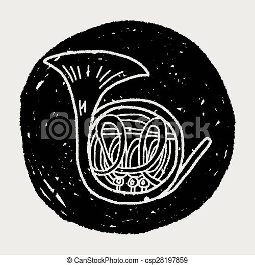 French Horn doodle - csp28197859