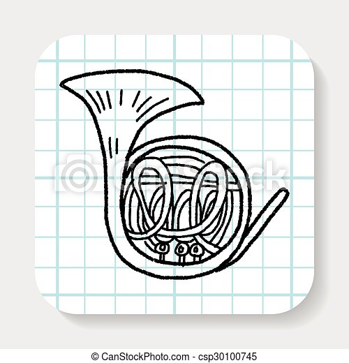French Horn doodle - csp30100745