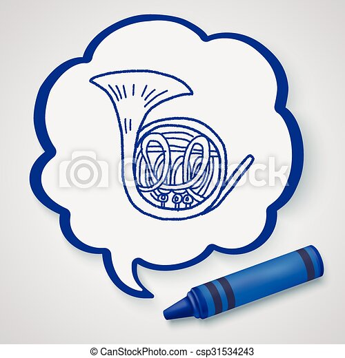 French Horn doodle - csp31534243