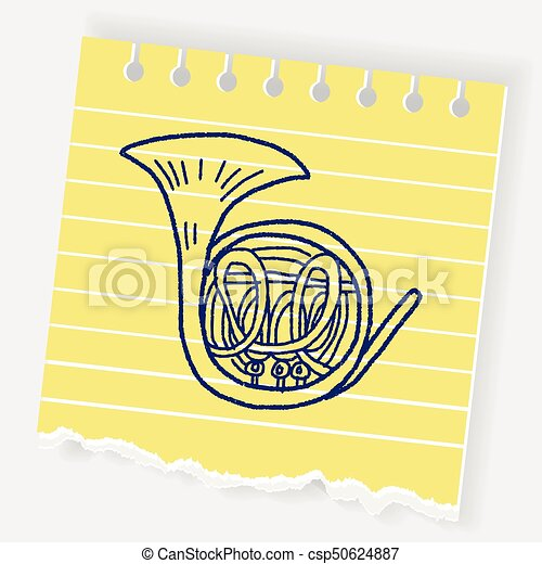 French Horn doodle - csp50624887
