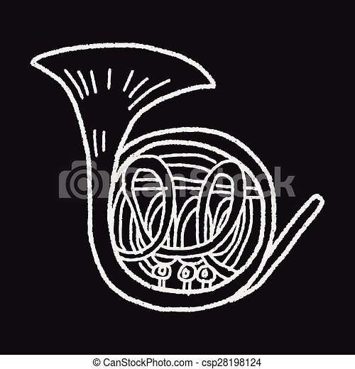 French Horn doodle - csp28198124