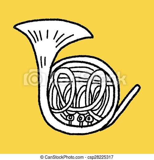 French Horn doodle - csp28225317