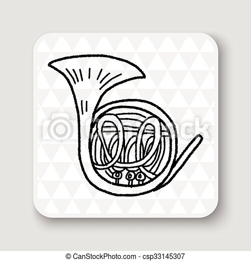 French Horn doodle - csp33145307