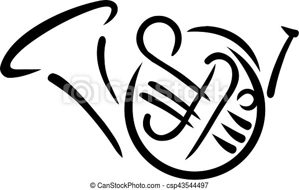 french horn drawn eps vectors search clip art illustration rh canstockphoto com french horn clipart french horn clip art black and white