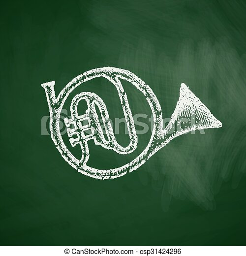 french horn icon - csp31424296