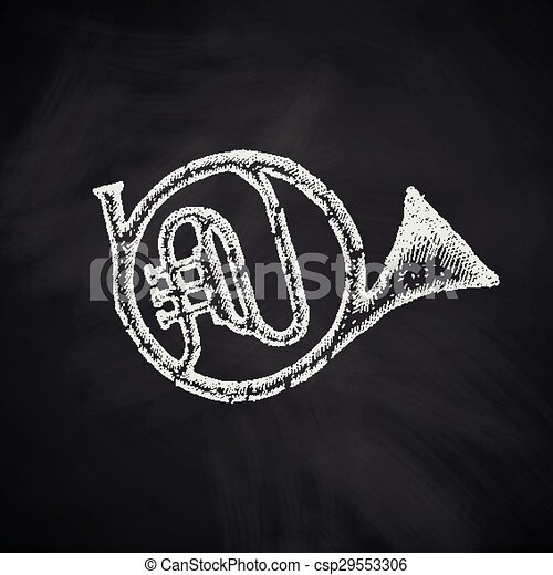 french horn icon - csp29553306