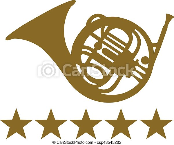 French Horn with five stars - csp43545282