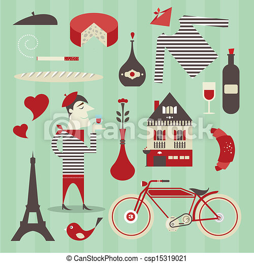french icons vector set of various icons about france rh canstockphoto com Cute French Clip Art French Sayings Clip Art