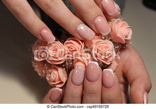 French Manicure Nail Design From Woman