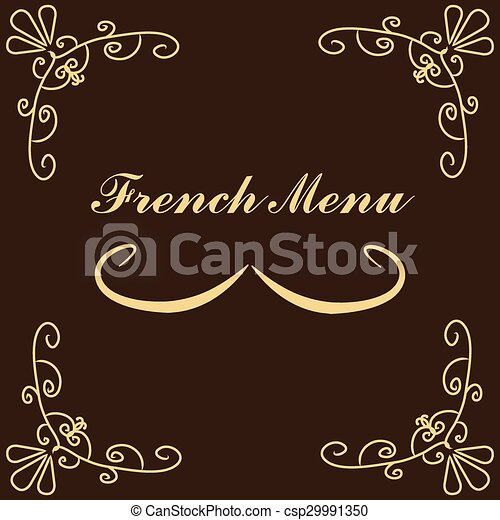 French Menu Vintage Design With Text And A Clipart