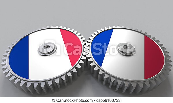 French national project. Flags of France on moving cogwheels. Conceptual 3D rendering - csp56168733