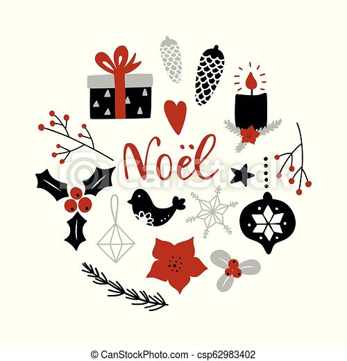 Noel, feliz Navidad en francés. - csp62983402