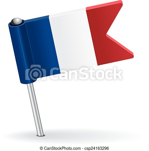 French pin icon flag. Vector illustration - csp24163296