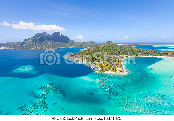 french polynesia from helicopter - csp15371325