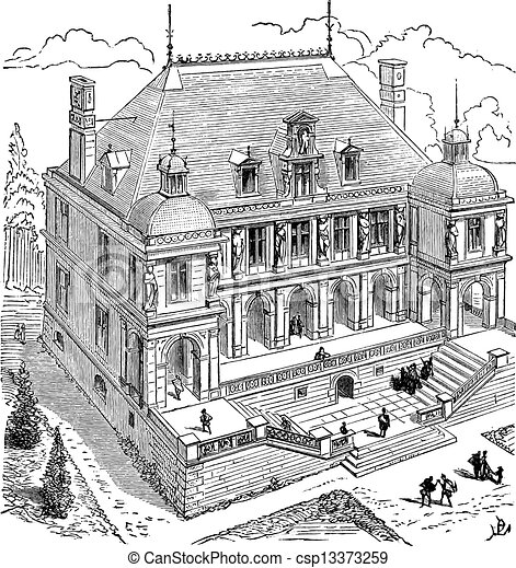 French Renaissance Hotel Vintage Engraving Vector