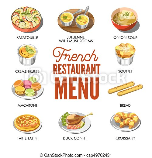 french restaurant menu with traditional national tasty food fresh ratatouille juillienne with. Black Bedroom Furniture Sets. Home Design Ideas