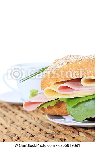 French roll with boiled ham - csp5619691