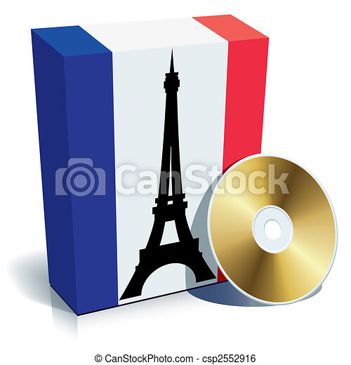 french software box with national flag colors and cd vector clip rh canstockphoto com vector clipart software laser engraving sports vector clipart software