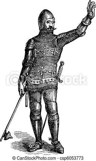French soldier in armor in 1370, old engraving - csp6053773