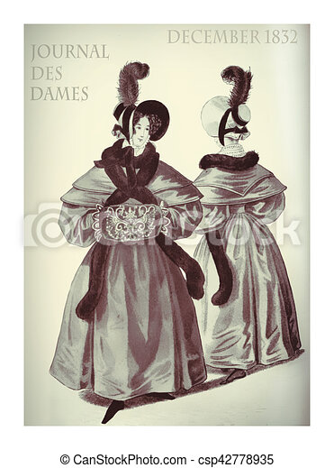French Vintage Winter Fashion XIX Century