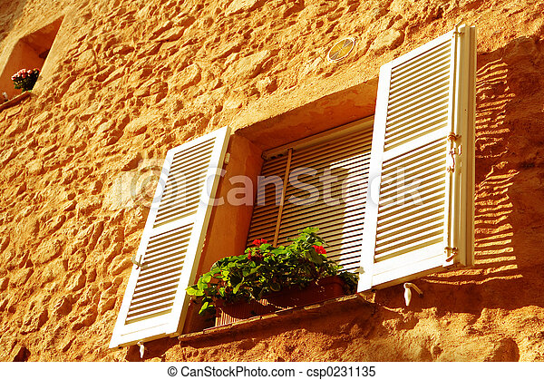 french window qith white shutters - csp0231135