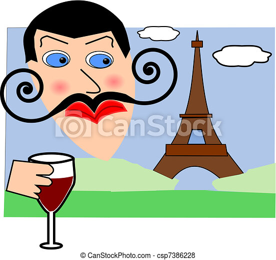 frenchman with eiffel tower in the background vector search clip rh canstockphoto com Baker Man Cartton French Person Striped Shirt