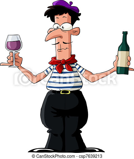 frenchman on a white background vector illustration rh canstockphoto com Baker Man Cartton French Person Striped Shirt