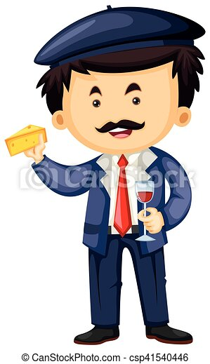 frenchman with cheese and wine illustration eps vector search clip rh canstockphoto ca French Teacher Saying Man Clip Art