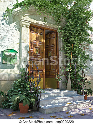 frente, casa, clássicas, porta, escadas. - csp9399220
