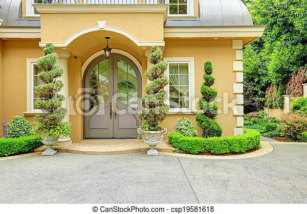Frente casa puerta lujo exterior hermoso p rtico for Avvolgere intorno al costo del portico