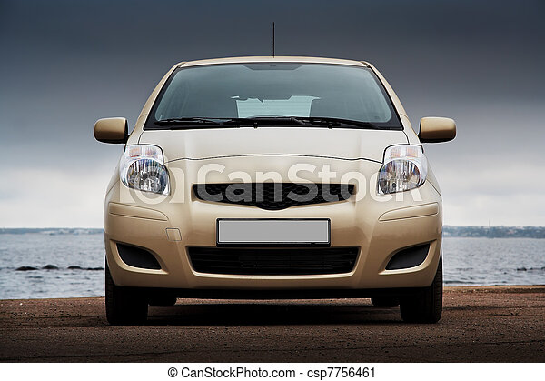frente, coche, beige, vista - csp7756461
