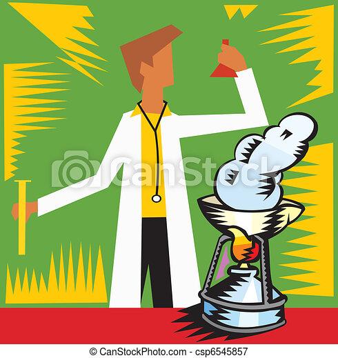 frente, experimentar, vista, laboratorio, doctor - csp6545857