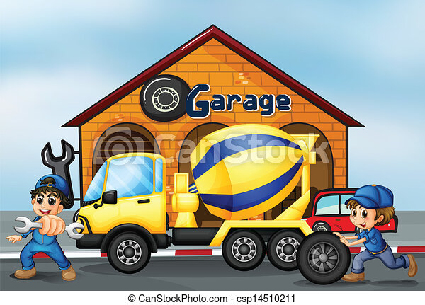 frente, garagem, caminhão, cimento - csp14510211