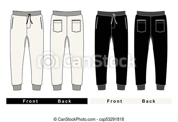 Pantalones de moda de hombres. Al frente y atrás - csp53291818