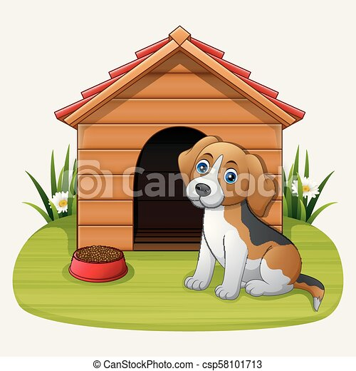 Lindo perro sentado frente a la perrera - csp58101713