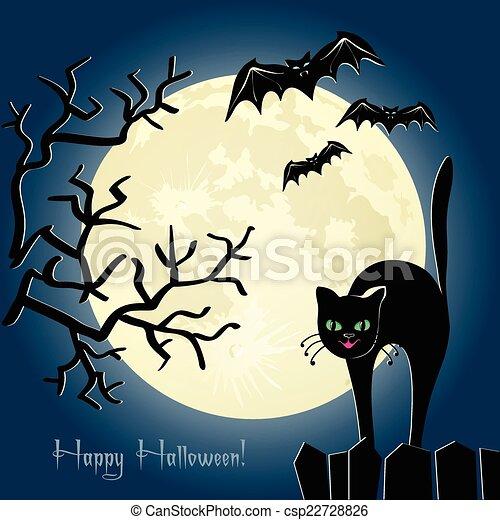 Gato negro en una cerca frente a la luna - csp22728826