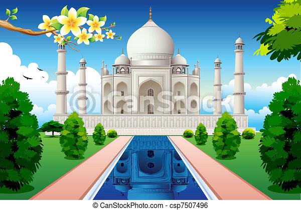 Primera vista de Taj mahal - csp7507496