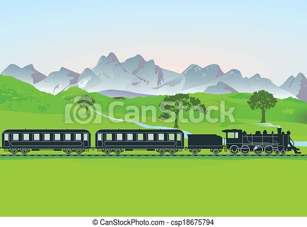 frente, montanha, trem, vapor - csp18675794
