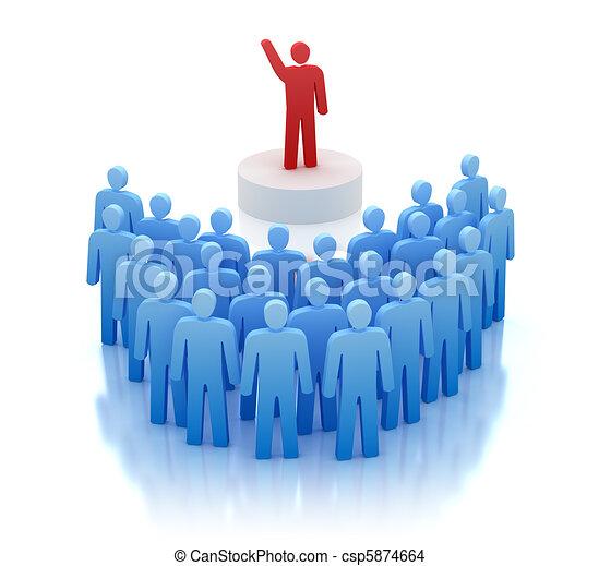 Frente, orador, oratoria, gente. Gente, aislado, frente ...