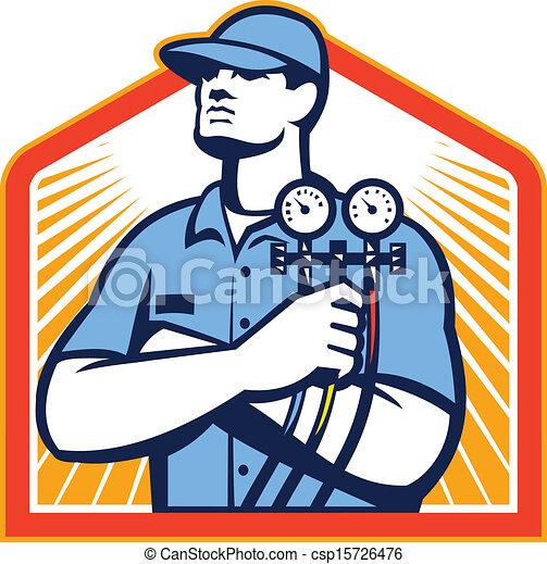 frente, refrigeración, condicionamiento, mecánico, aire - csp15726476