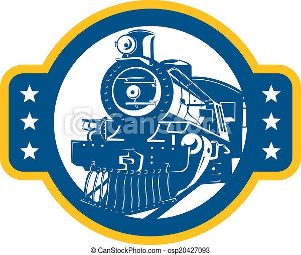 Tren de vapor de locomotora frontal retro - csp20427093