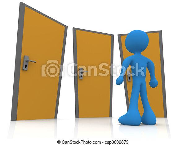 Frente a tres puertas - csp0602873