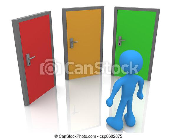 Delante de tres puertas - csp0602875