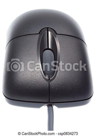 Ratón óptico negro. Primera vista. - csp0834273