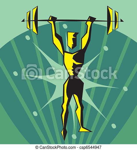 frente, weightlifter, vista - csp6544947