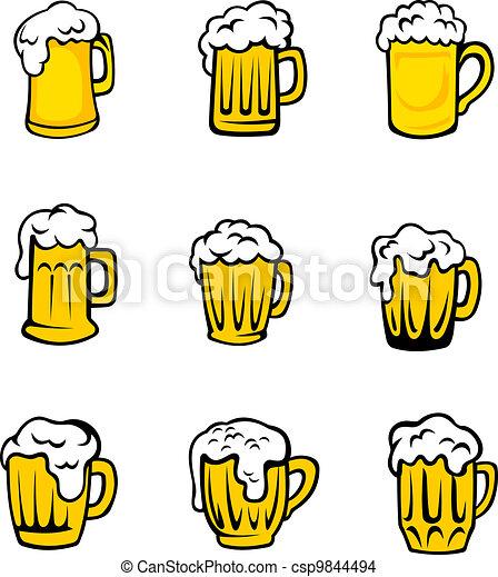 fresco, birra, set, schiuma, occhiali - csp9844494