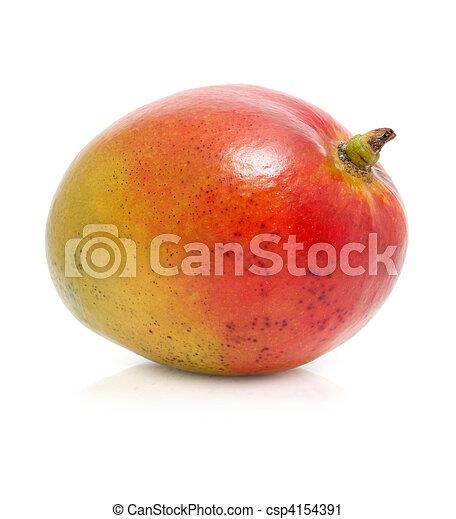 Fruta de mango fresca aislada en blanco - csp4154391