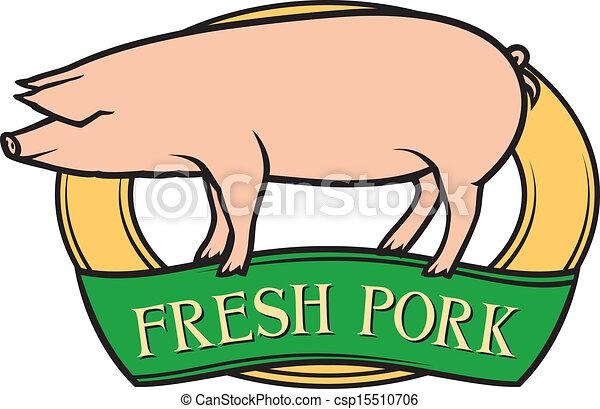 fresco, carne di maiale, etichetta - csp15510706
